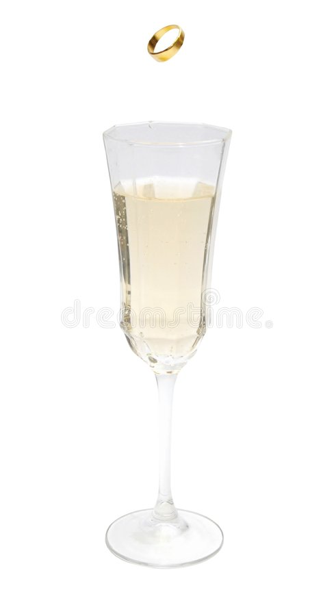 Trouwring en Champagne royalty-vrije stock afbeelding
