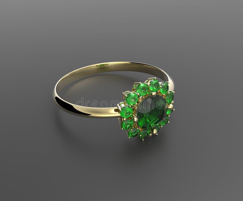 Trouwring met diamant 3D Illustratie royalty-vrije stock afbeeldingen