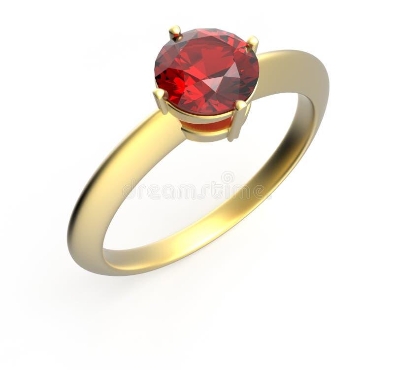 Trouwring met een diamant Geïsoleerdj op witte achtergrond vector illustratie