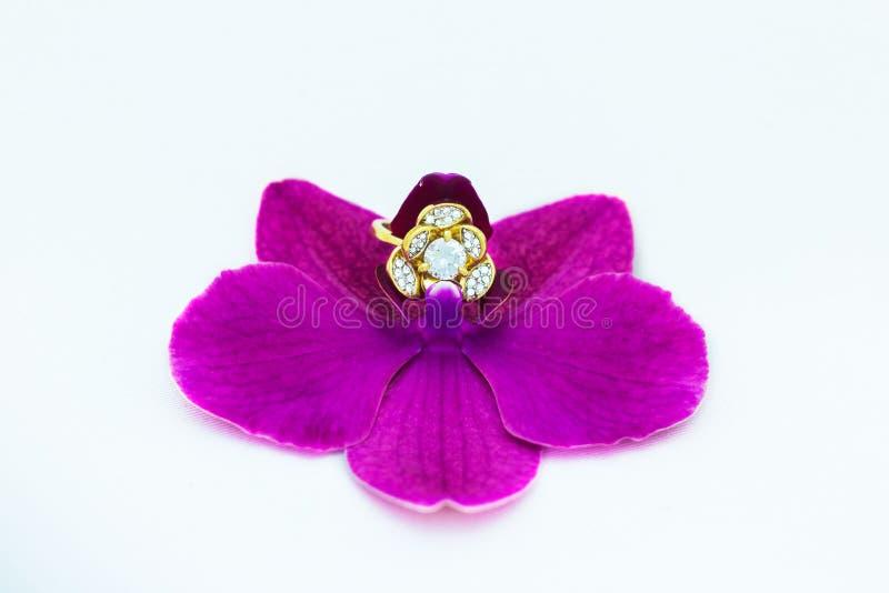Trouwring van orchideeën stock foto
