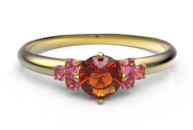 Trouwring wiith diamant 3D Illustratie stock illustratie