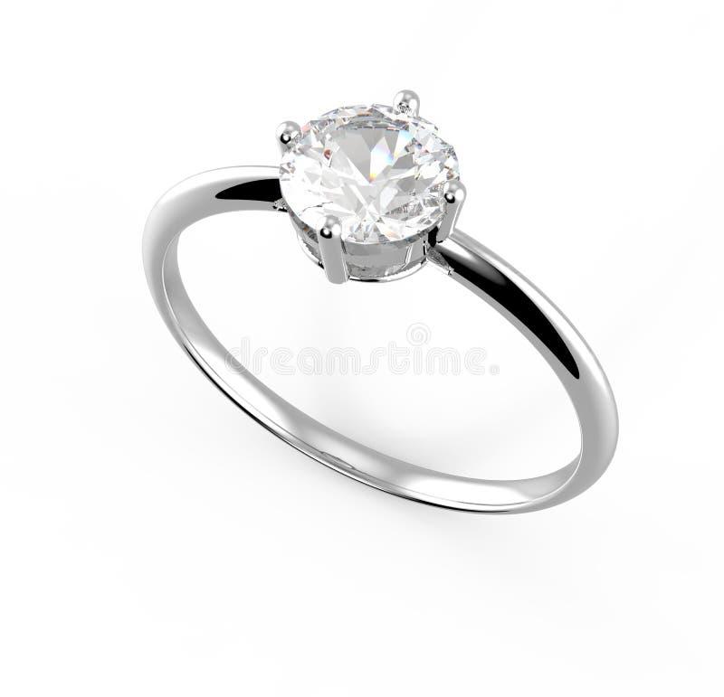 Trouwring wiith diamant 3D Illustratie royalty-vrije stock afbeeldingen