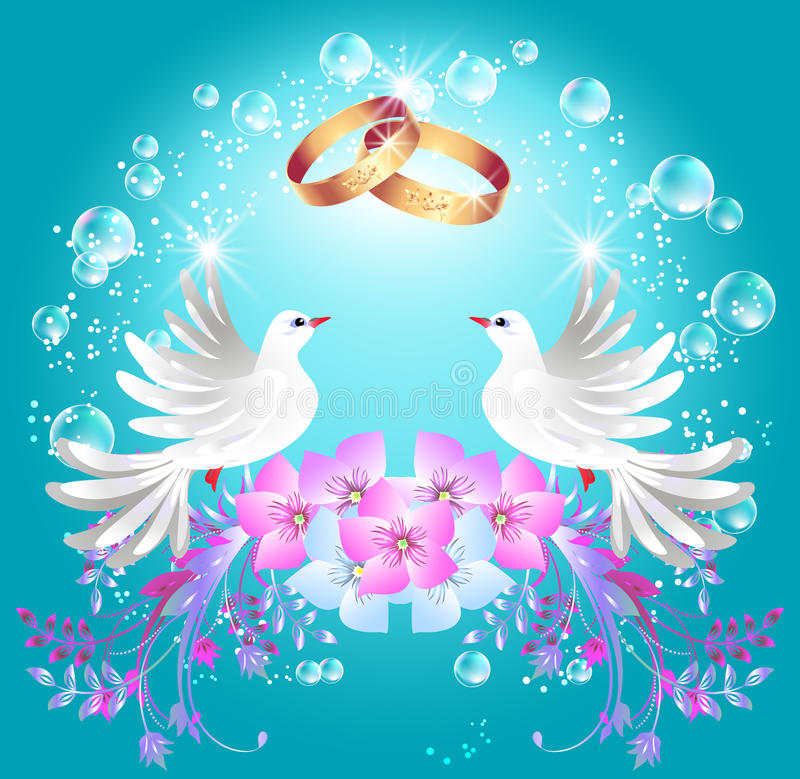 Trouwringen en twee duiven vector illustratie