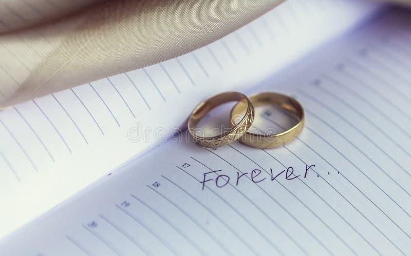 Trouwringen voor minnaars op de overeenkomst of het huwelijk royalty-vrije stock afbeeldingen