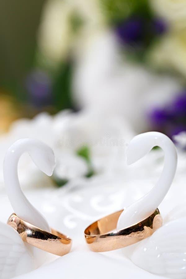 Trouwringenbruid en bruidegom op decoratief hoofdkussen stock fotografie