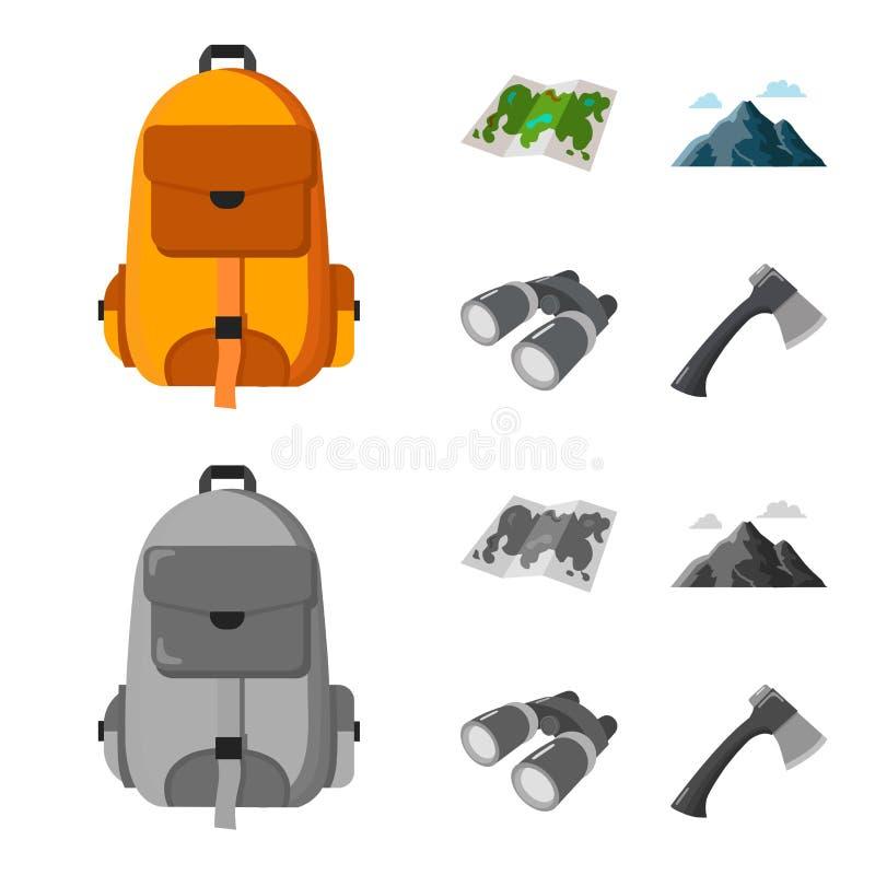 Trouxa, montanhas, mapa da área, binóculos Ícones ajustados de acampamento da coleção nos desenhos animados, símbolo monocromátic ilustração do vetor