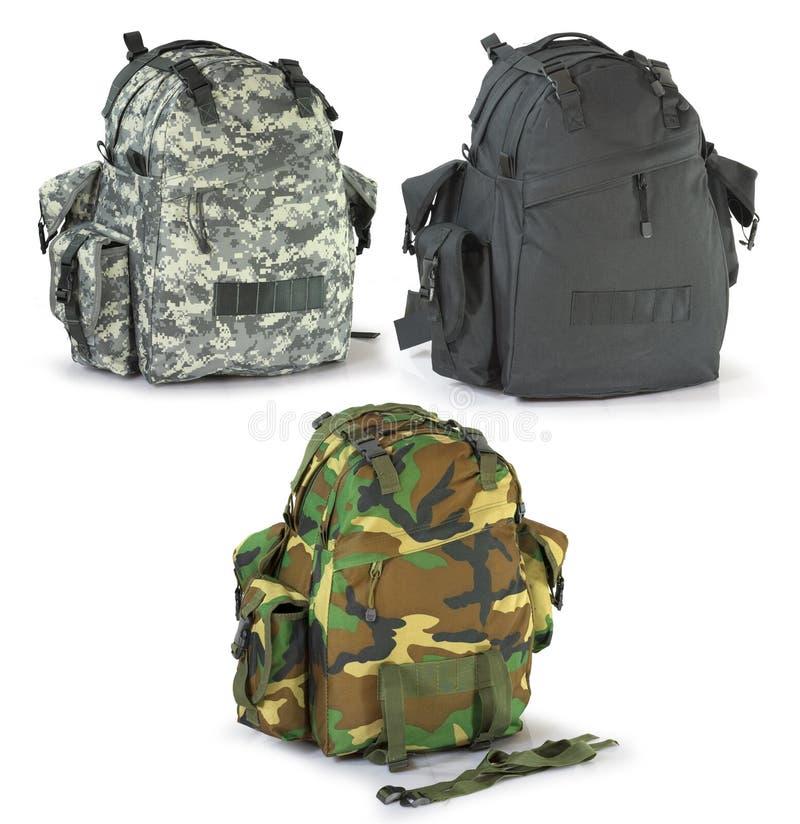 Trouxas dos caçadores das forças armadas ou da sobrevivência ajustadas foto de stock