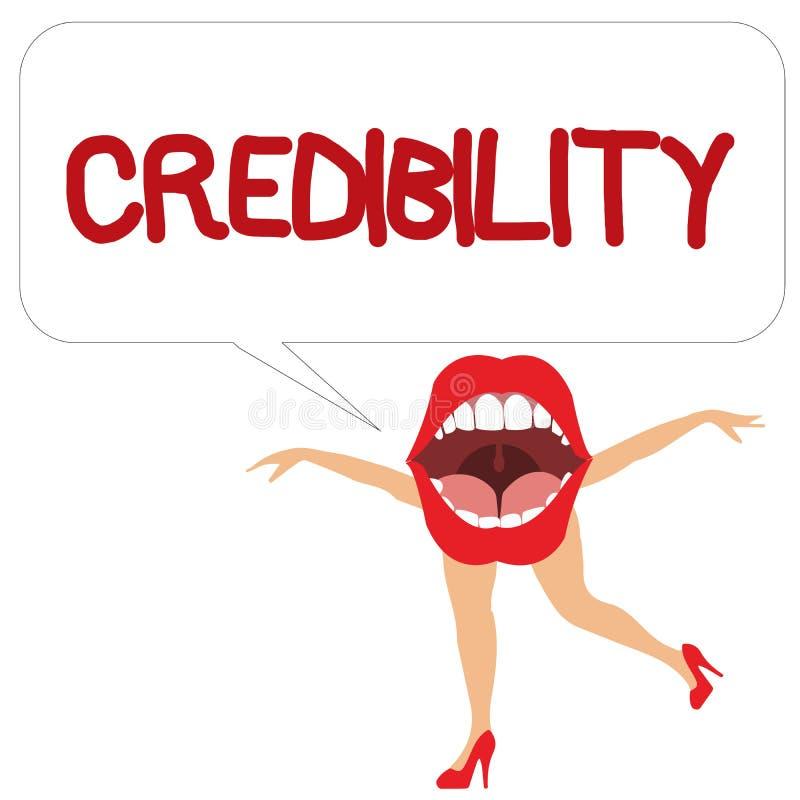 Trovärdighet för ordhandstiltext Affärsidé för kvalitet av att vara övertygande betrott troligt och trott in stock illustrationer