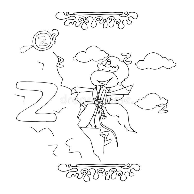Trova lettera Z unicorno fumetto divertente Alfabeto animato, pagina di colorazione Foglio di lavoro stampabile Un climber unicor illustrazione vettoriale