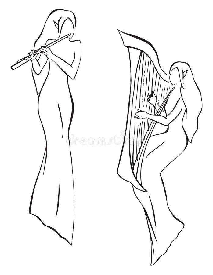 Trovadores dos duendes com linha vetor da harpa e da flauta da arte ilustração do vetor