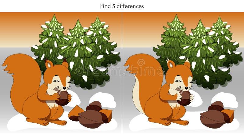 Trovare 5 differenze con uno scoiattolo che gratta le noci illustrazione di stock