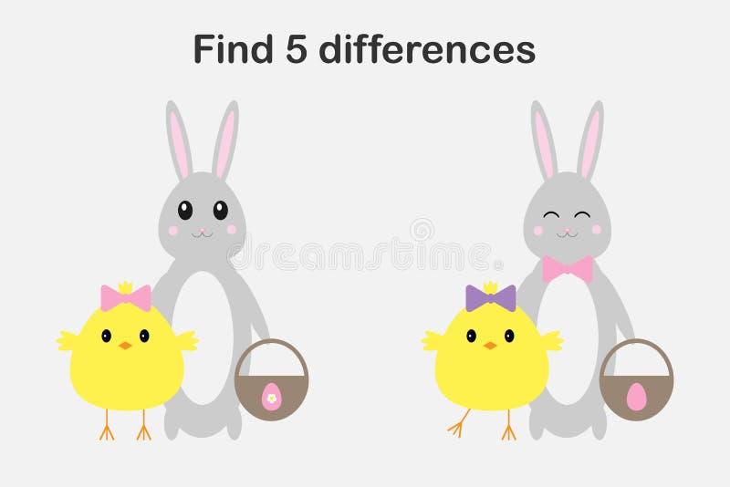 Trovi 5 differenze, il gioco di pasqua per i bambini, il pulcino ed il coniglietto nello stile del fumetto, il gioco per i bambin illustrazione di stock