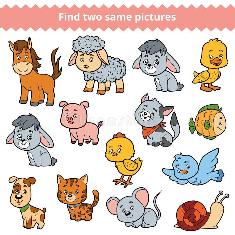 Trovi due immagini identiche, il gioco di istruzione, insieme degli animali da allevamento illustrazione vettoriale