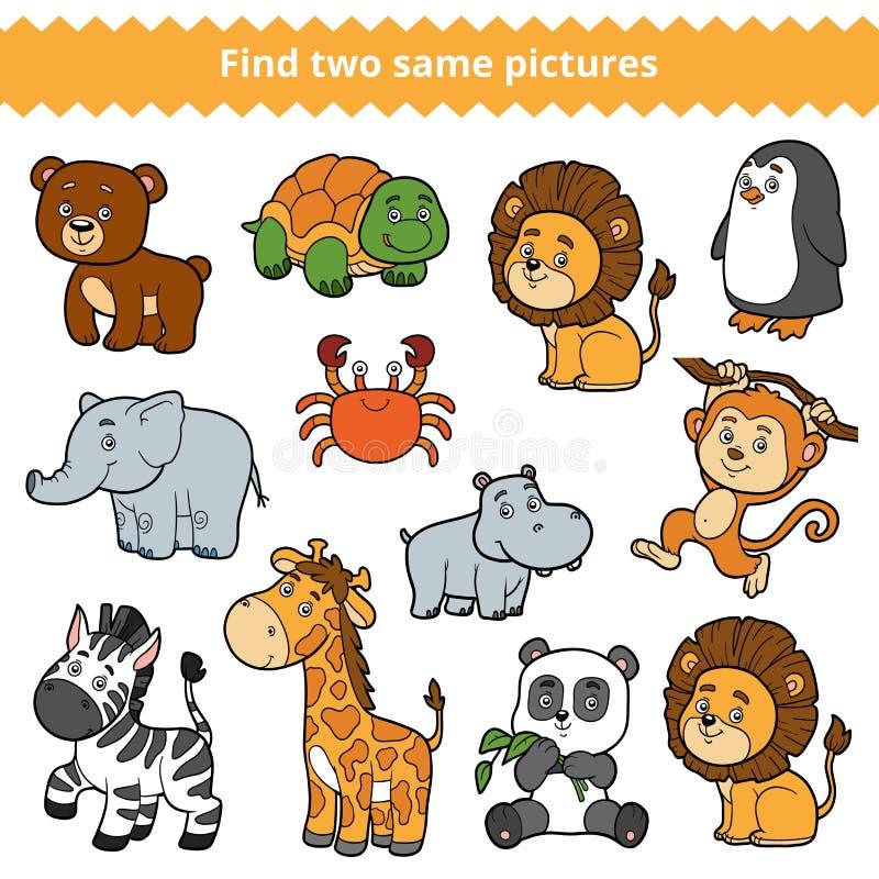 Trovi due immagini identiche, il gioco di istruzione, insieme degli animali dello zoo illustrazione vettoriale
