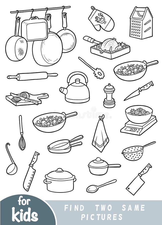 Trovi due le stesse immagini, gioco per i bambini Insieme degli oggetti della cucina illustrazione di stock