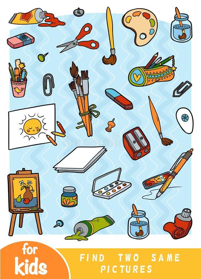 Trovi due le stesse immagini, gioco per i bambini Insieme di colore degli oggetti degli artisti royalty illustrazione gratis