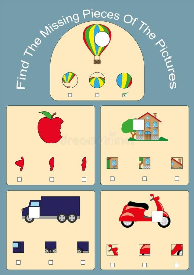 Trovi i pezzi mancanti delle immagini, il puzzle visivo di logica, gioco educativo per i bambini royalty illustrazione gratis