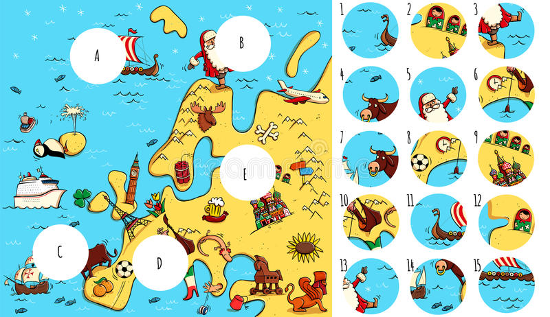 Trovi i pezzi mancanti, soluzione nello strato nascosto illustrazione di stock