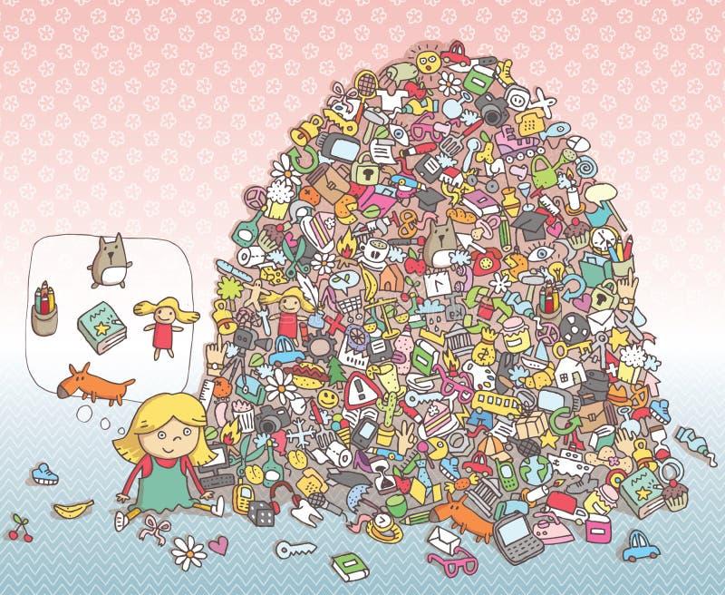 Trovi il gioco di rappresentazione degli oggetti Soluzione nello strato nascosto! royalty illustrazione gratis