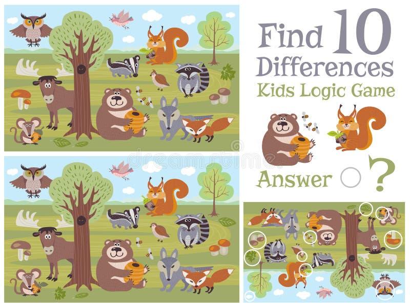 Trovi il gioco educativo dei bambini di differenze con l'illustrazione animale di vettore dei caratteri della foresta illustrazione di stock