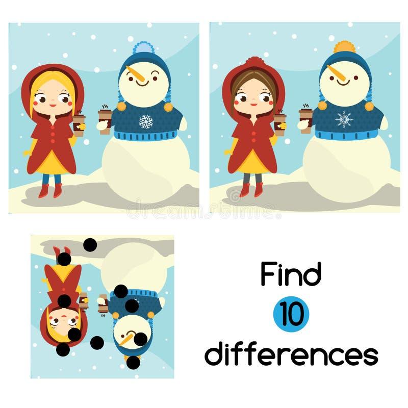 Trovi il gioco educativo dei bambini di differenze Scheda di attività dei bambini con la ragazza ed il pupazzo di neve Tema all'a royalty illustrazione gratis