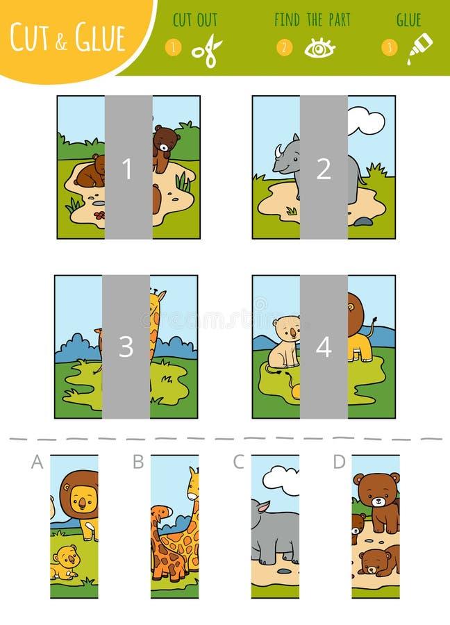 Trovi il giusto gioco della parte, del taglio e della colla per i bambini Insieme degli animali del fumetto illustrazione vettoriale
