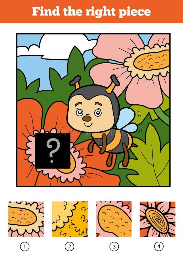 Trovi il giusto pezzo, gioco per i bambini Ape illustrazione vettoriale