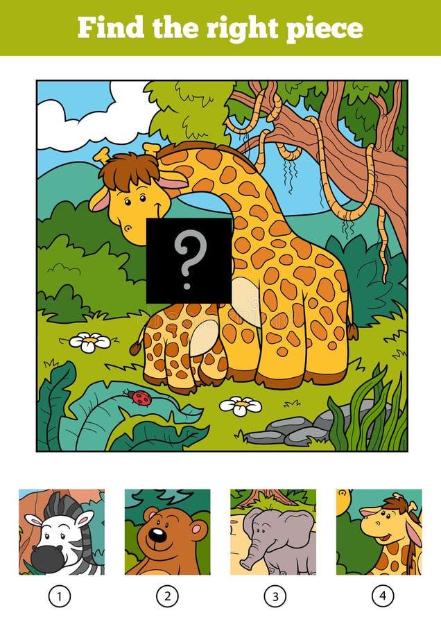 Trovi il giusto pezzo, gioco per i bambini Giraffa due illustrazione vettoriale