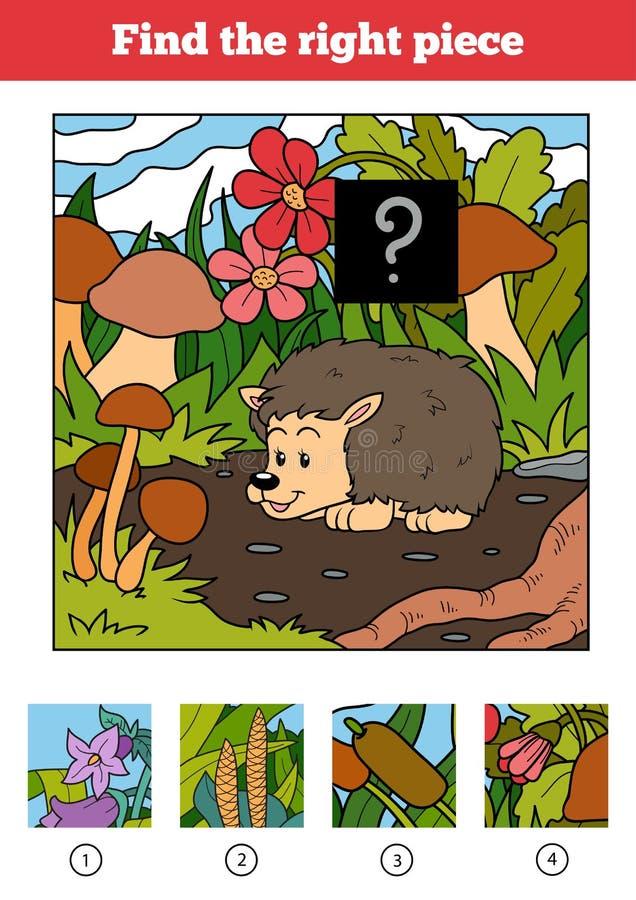 Trovi il giusto pezzo, gioco per i bambini hedgehog illustrazione di stock