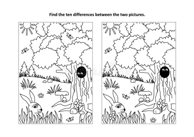 Trovi il puzzle visivo di differenze e la pagina di coloritura con la scena della natura illustrazione vettoriale