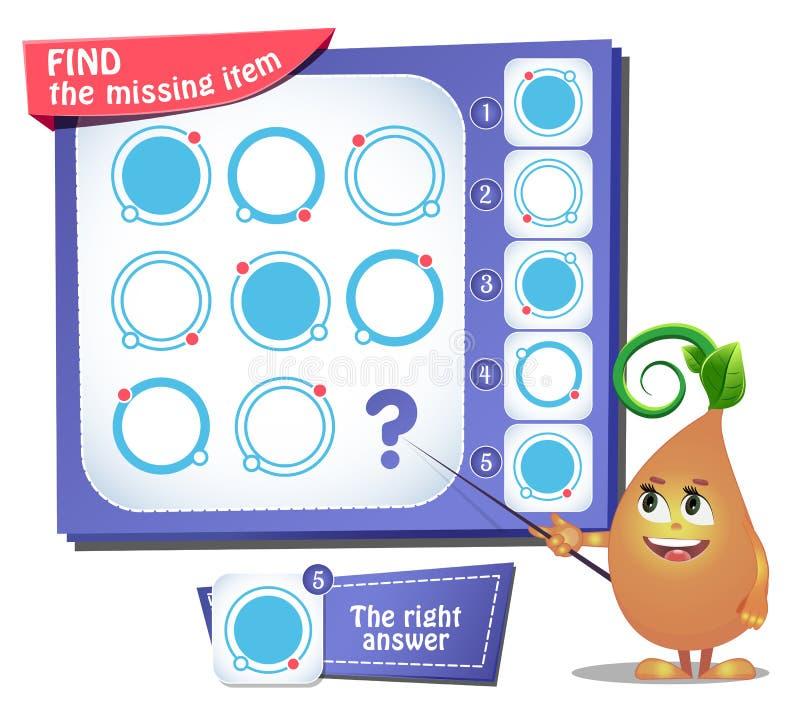 Trovi il quoziente d'intelligenza mancante del cerchio dell'oggetto illustrazione di stock