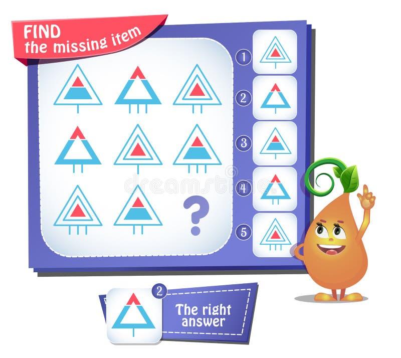 Trovi il quoziente d'intelligenza mancante del triangolo dell'oggetto illustrazione di stock