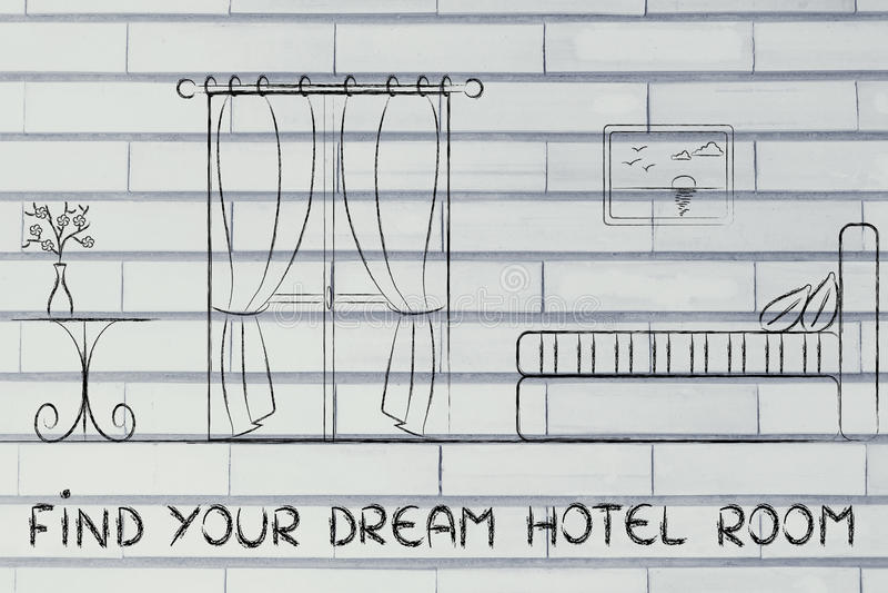 Trovi il vostro hotel di sogno, progettazione dell'interno della stanza fotografie stock