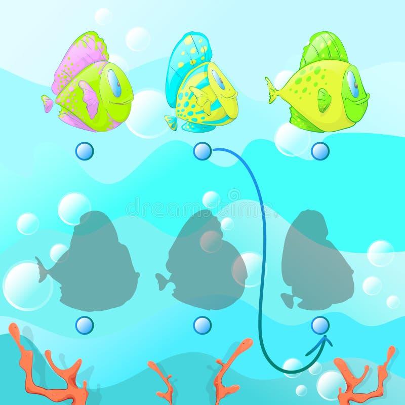 Trovi l'ombra giusta, il gioco educativo per i bambini, gioco educativo di puzzle dei bambini immagini stock libere da diritti