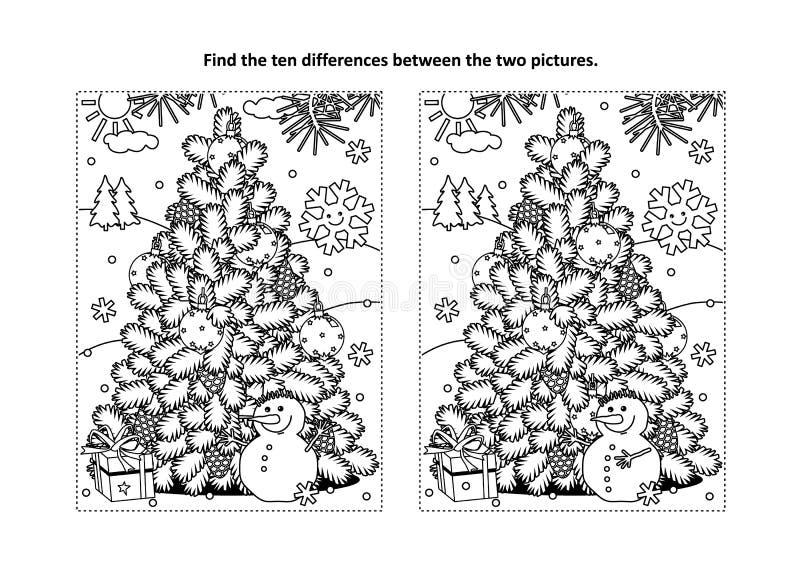 Trovi la pagina visiva di puzzle e di coloritura di differenze con l'albero di Natale, il pupazzo di neve, regalo illustrazione di stock