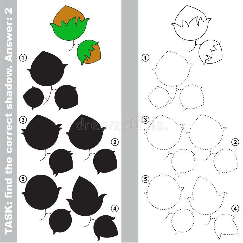 Trovi la vera ombra corretta, il gioco educativo del bambino illustrazione di stock