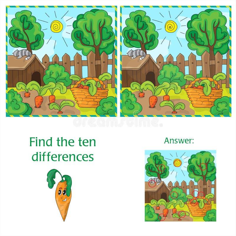 Trovi le differenze fra le due carote di immagini nel giardino illustrazione di stock