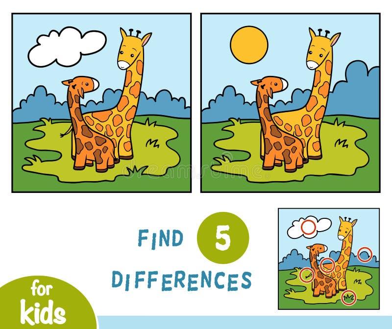 Trovi le differenze, gioco per i bambini, due giraffe illustrazione di stock