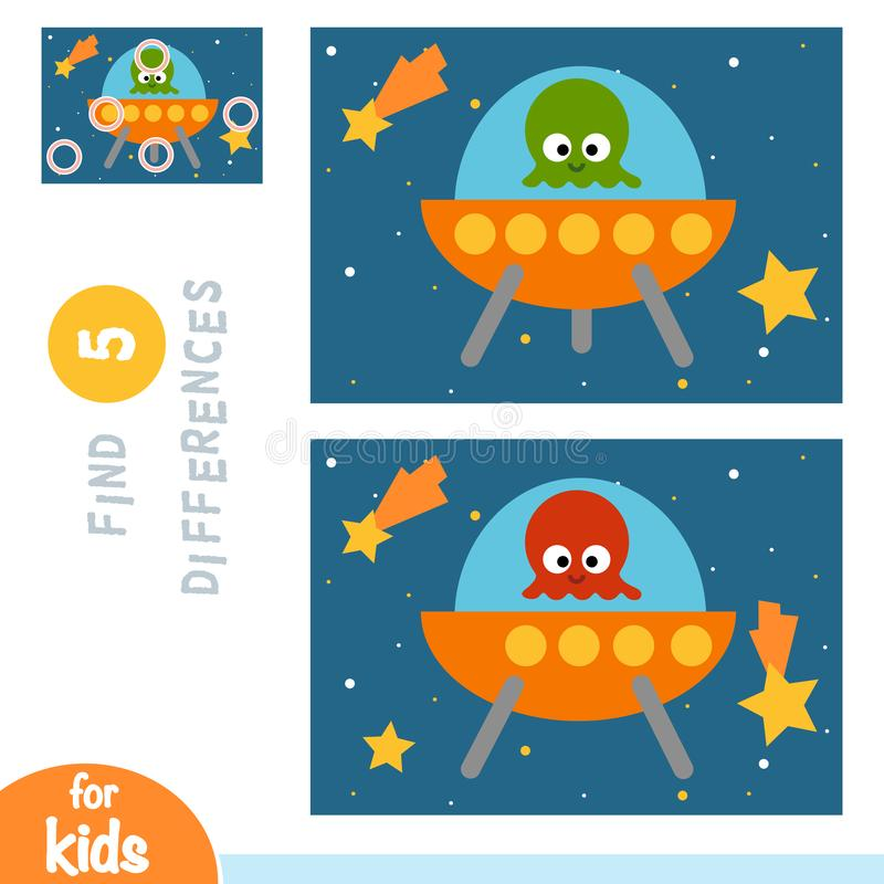 Trovi le differenze, il gioco di istruzione, UFO nello spazio illustrazione di stock