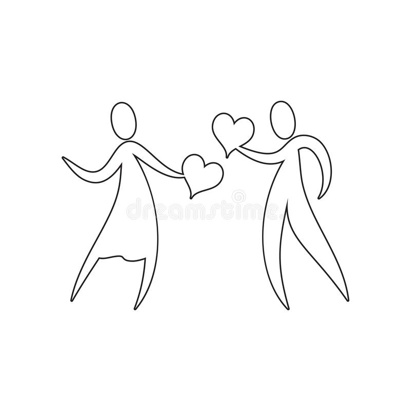 trovi un'icona di caro Elemento del San Valentino, nozze per il concetto mobile ed icona dei apps di web Profilo, linea sottile i illustrazione di stock