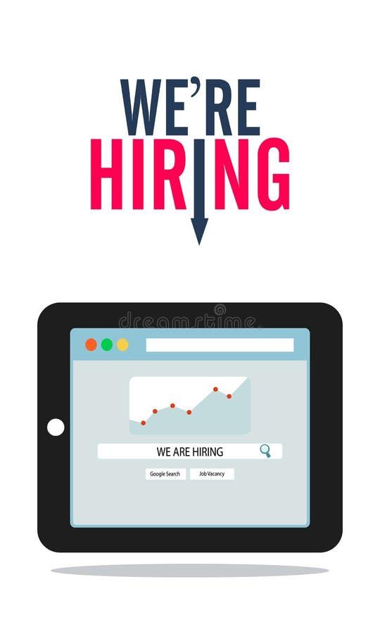Trovi un lavoro online e la piattaforma di assunzione sul concetto di occupazione della compressa - vettore illustrazione di stock