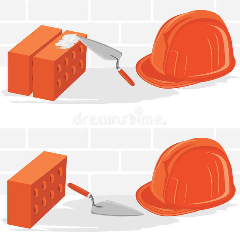 Trowel with bricks and safety helmet royalty free illustration