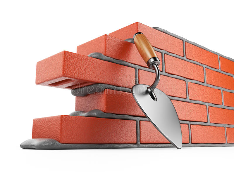 Trowel and bricks wall 3D. Work place. Isolated. On white background royalty free illustration