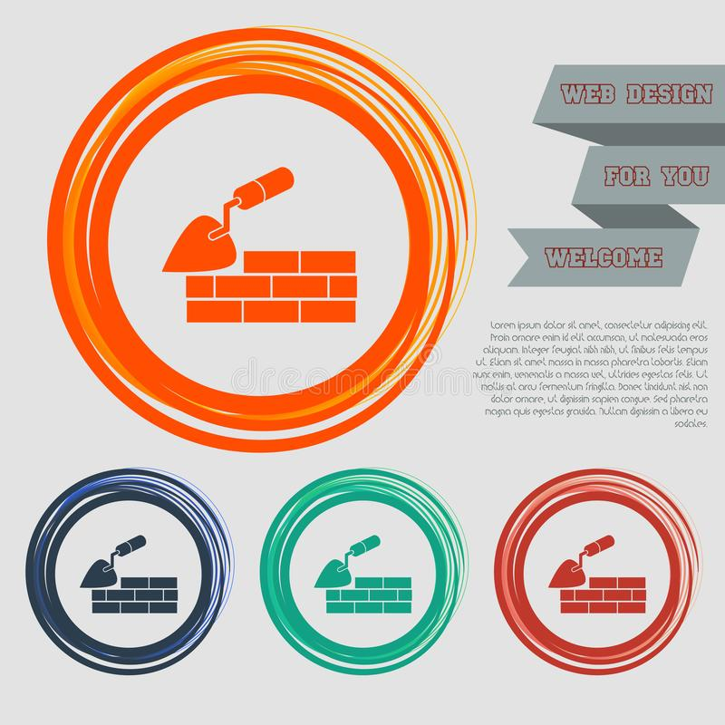 Trowel building and brick wall icon on the red, blue, green, orange buttons for your website and design with space text. Illustration vector illustration