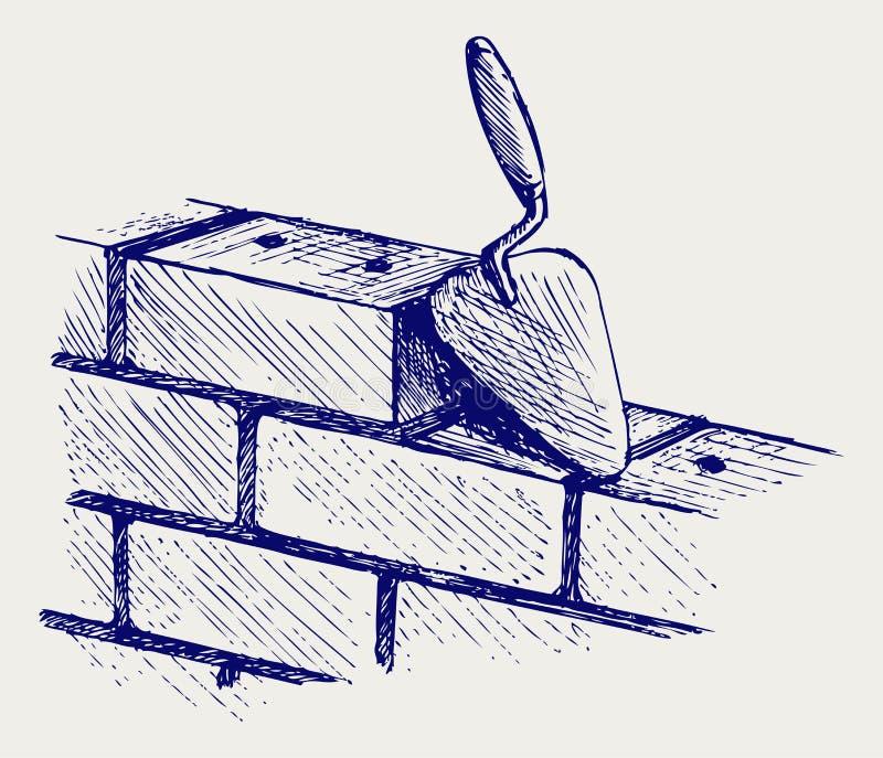 Trowel e tijolos ilustração royalty free