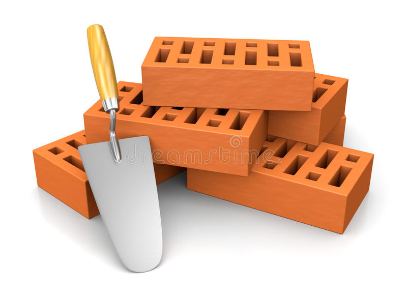 Trowel Leaned Against a Stack of Bricks. One Trowel Leaned Against a Stack of Bricks 3D Illustration on White Background royalty free illustration