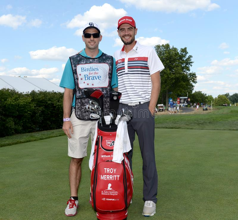 Troy Merritt bij 2015 Barclays pro-Am hield in Plainfield Country Club in Edison, New Jersey stock afbeelding