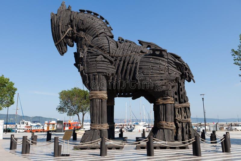 Troy trähäst på Canakkale, Turkiet royaltyfria foton