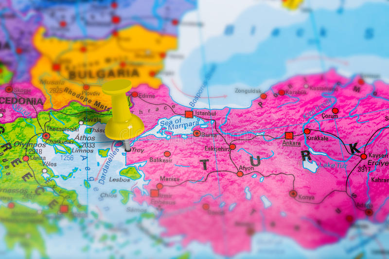 Troy Turkey map. Troy Truva historical town in Turkey pinned on colorful political map of Europe. Geopolitical school atlas. Tilt shift effect royalty free stock images
