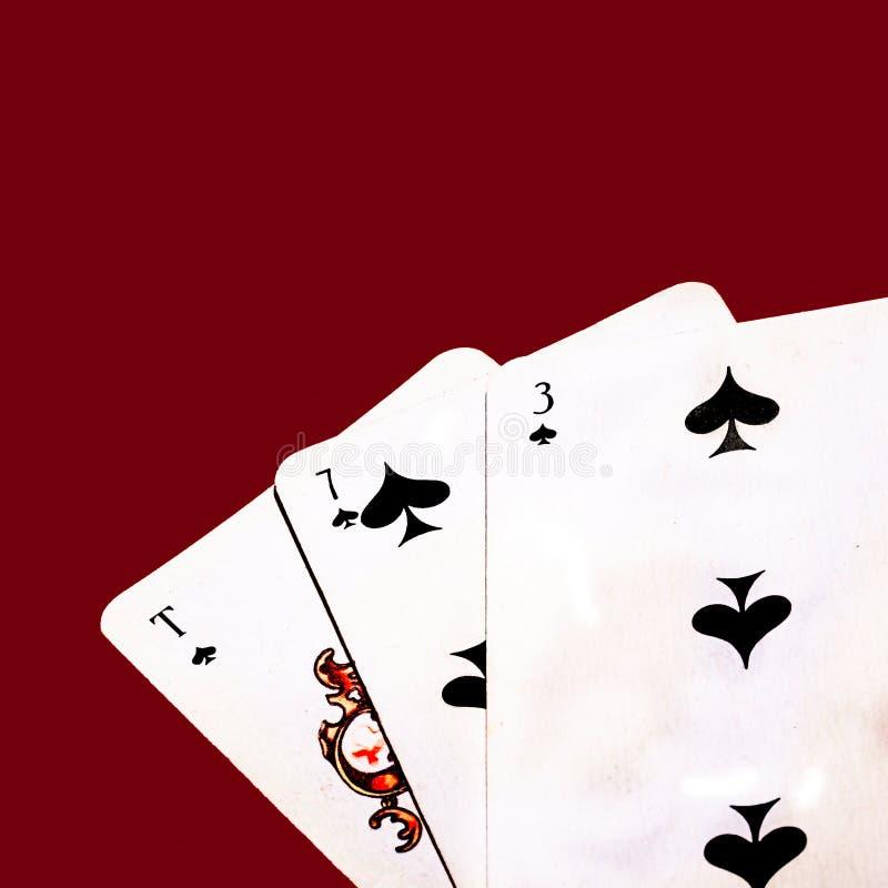 Troyka Semerka Tuz, demasiado em um jogo de cartas fotografia de stock